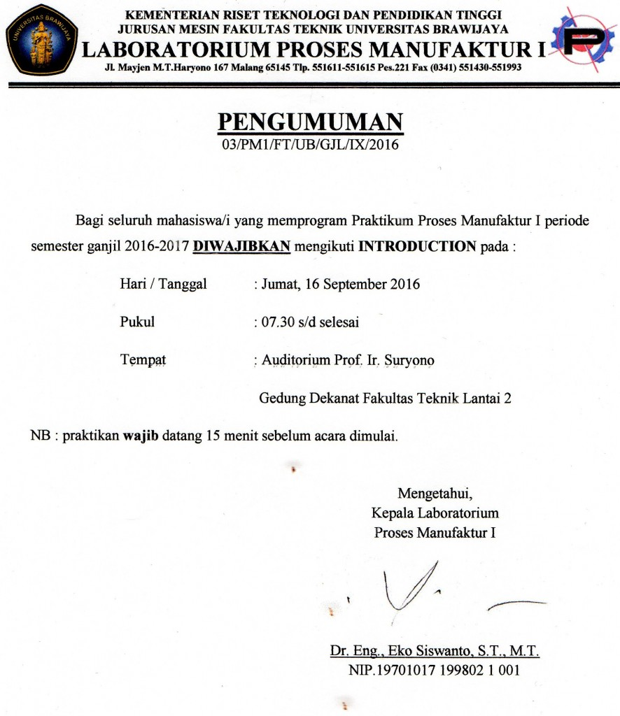 PENGUMUMAN INTRODUCTION (15 SEPTEMBER 2016)